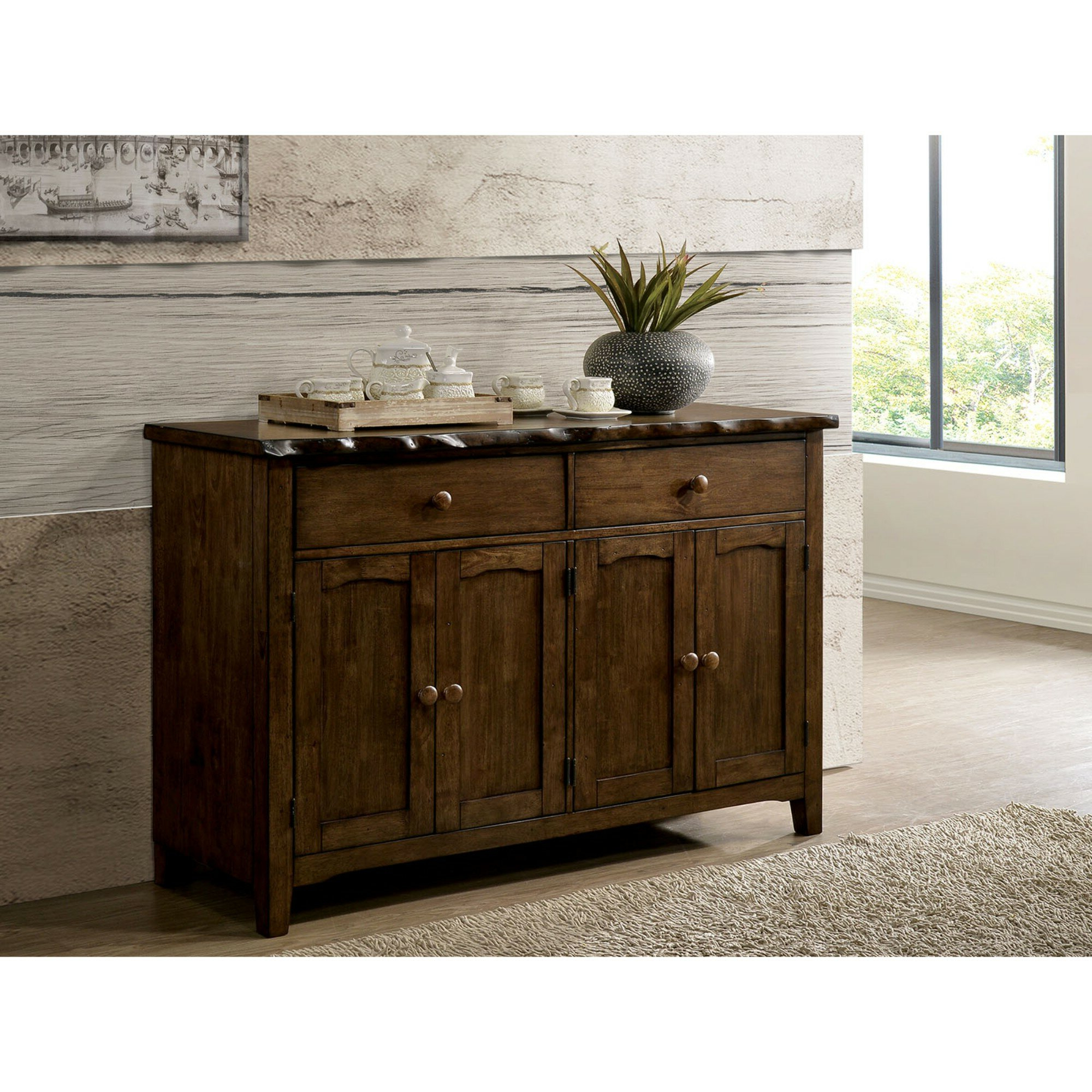 Sprowston Rustic Solid Wood Rectangular Sideboard Pertaining To Widely Used Whitten Sideboards (Gallery 16 of 20)