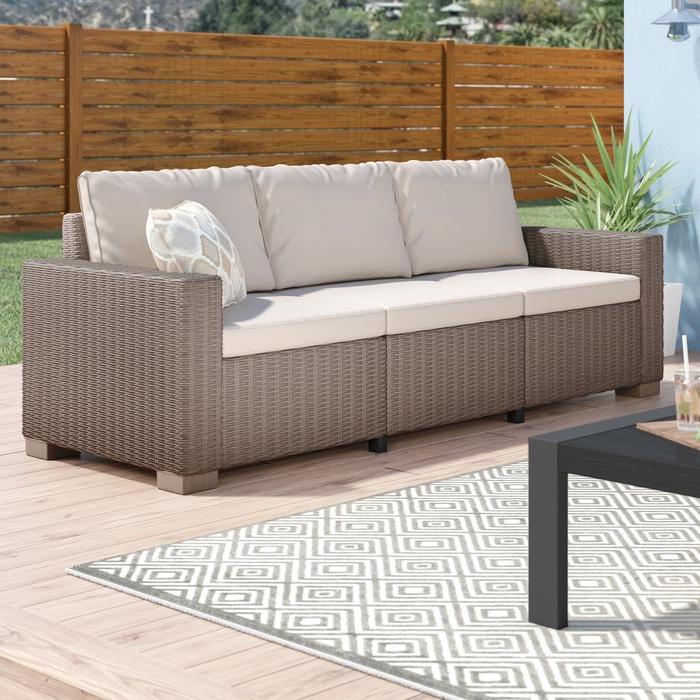 Stallcup Patio Sofa With Cushions Inside Most Up To Date Rowley Patio Sofas Set With Cushions (View 20 of 20)