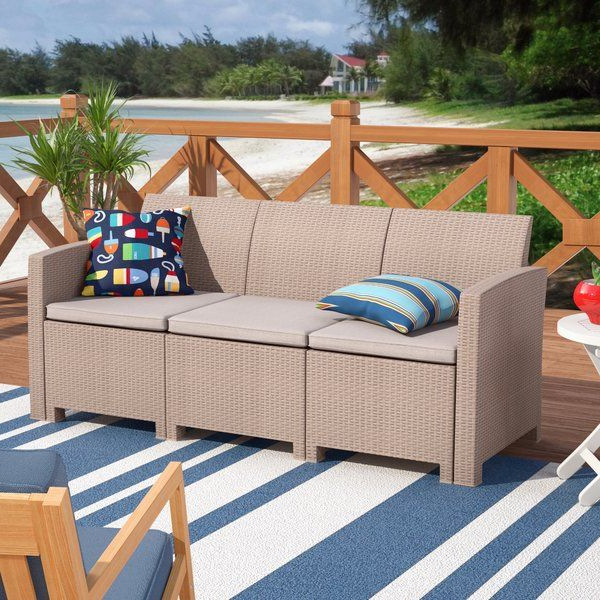 Stockwell Patio Sofa With Cushions (View 4 of 20)