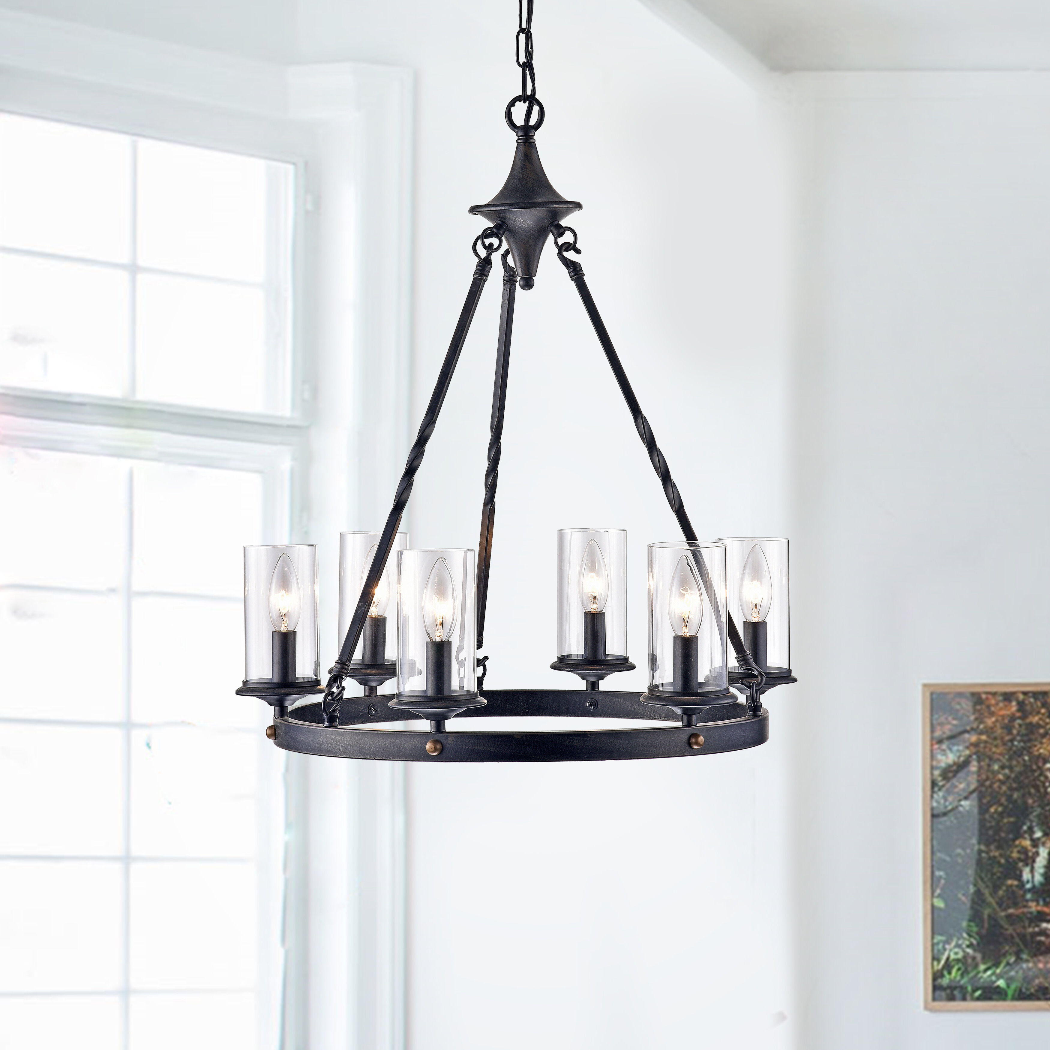 Suki 5 Light Shaded Chandeliers For Famous Farmhouse & Rustic Andover Mills Chandeliers (View 15 of 20)