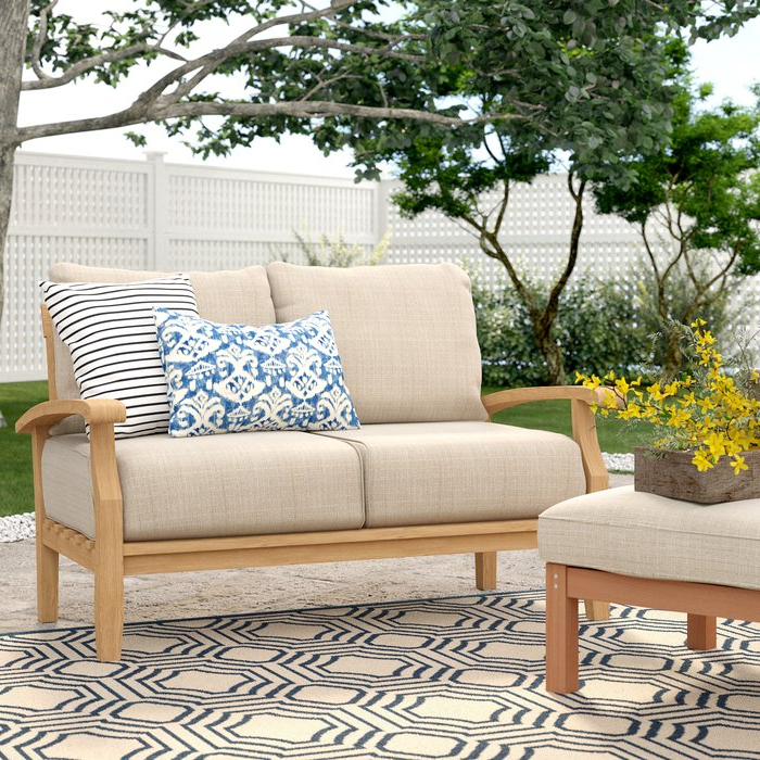 Summerton Teak Loveseat With Cushions For Current Montford Teak Loveseats With Cushions (View 20 of 20)