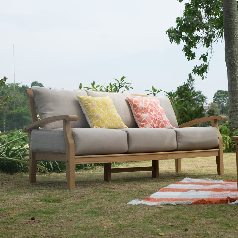 Summerton Teak Patio Sofa With Cushions In Fashionable Ellanti Teak Patio Daybeds With Cushions (View 17 of 20)