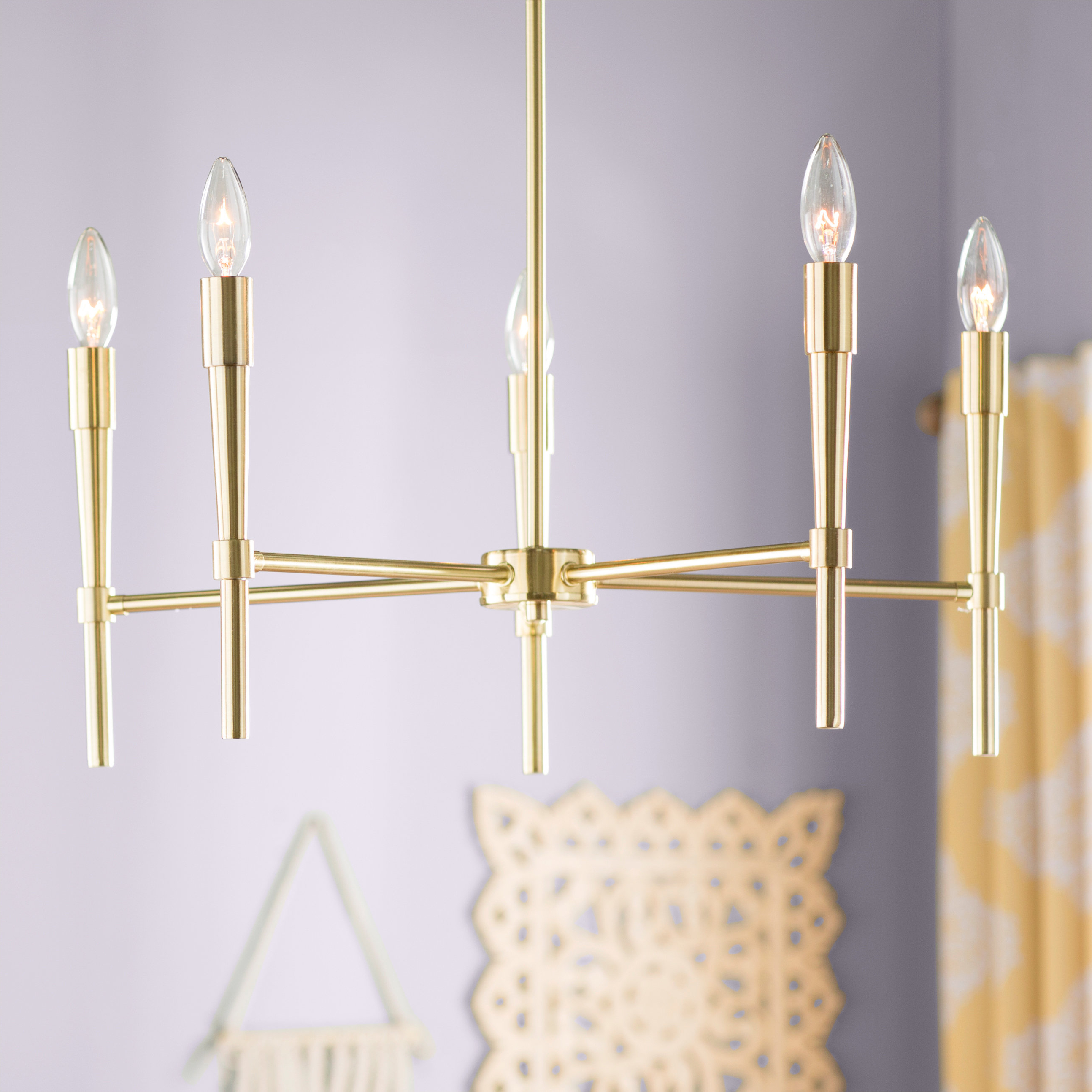 Tabit 5 Light Geometric Chandeliers Inside Most Recent Ashleigh 5 Light Candle Style Chandelier (View 12 of 20)