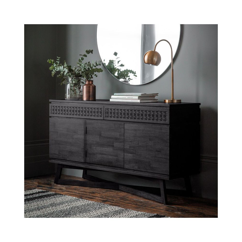 Tate Sideboards Intended For Current 3 Door Sideboard 2 Drawer Storage Cabinet Dark Wood Finish (View 16 of 20)