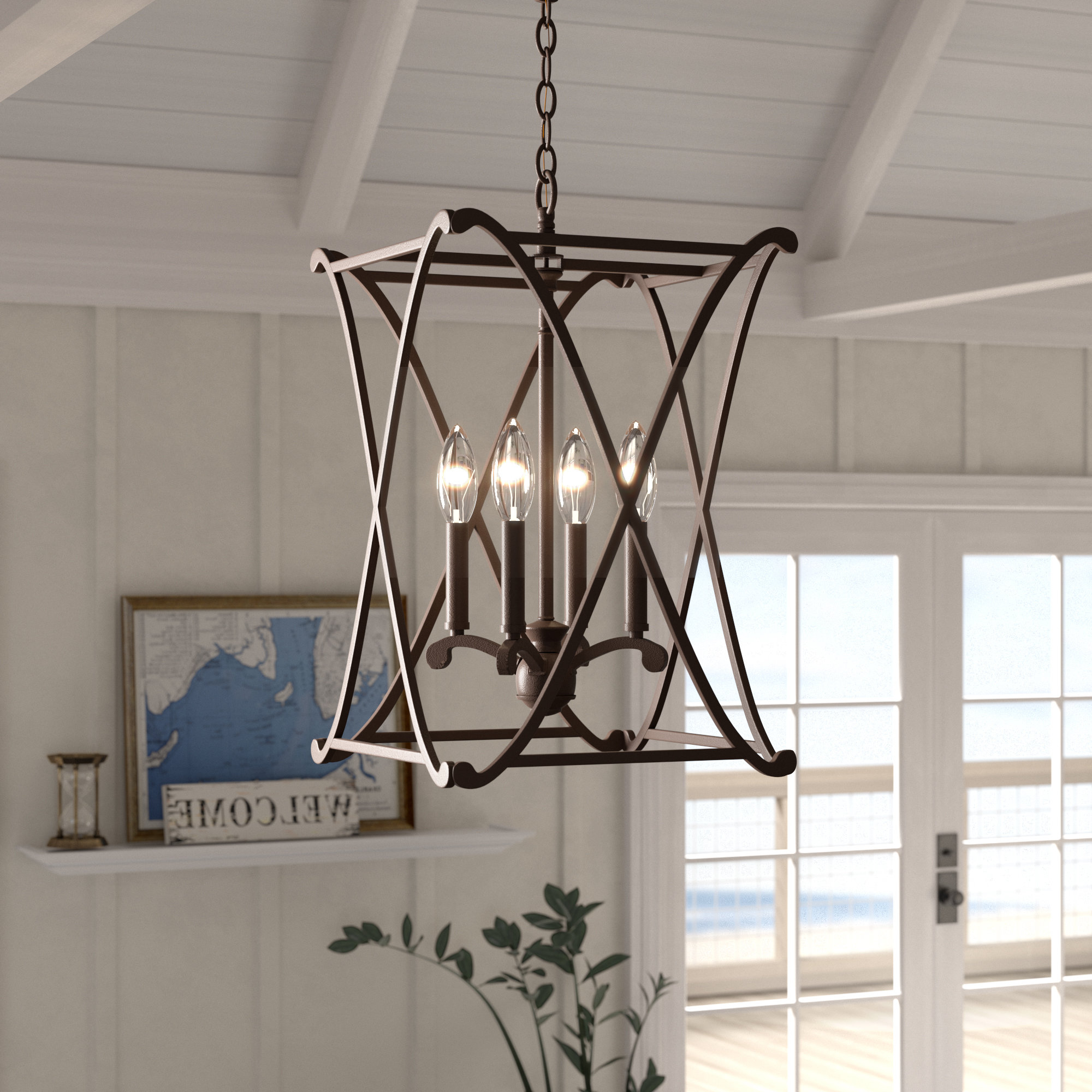 Taya 4 Light Lantern Square Pendants Inside Well Known Nisbet 4 Light Lantern Geometric Pendant (View 3 of 20)