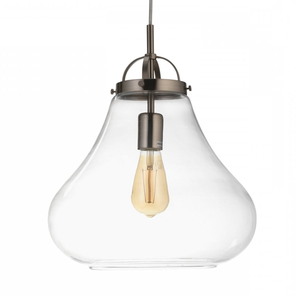 Terry 1 Light Single Bell Pendants Regarding Most Current 1009/1 Ac Turua Single Light Ceiling Pendant In Antique Chrome Finish With  Clear Glass Shade (View 18 of 20)