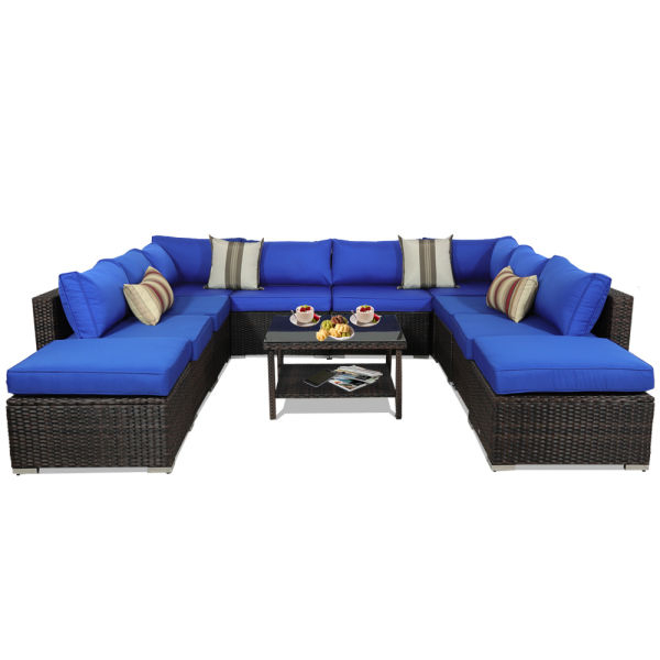 Tess Corner Living Patio Sectionals With Cushions Pertaining To 2020 Outdoor Sectional Sofa Patio Furniture Brown Wicker Garden Rattan Sofa Set  11Pcs Outside Couch Porch Seating Royal Blue Cushion 1 Set / Carton (View 12 of 20)