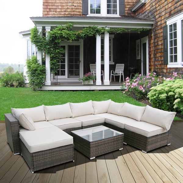 Tess Corner Living Patio Sectionals With Cushions With Most Recent Shop Leisure Zone 8 Pieces Rattan Patio Furniture Set With (View 9 of 20)