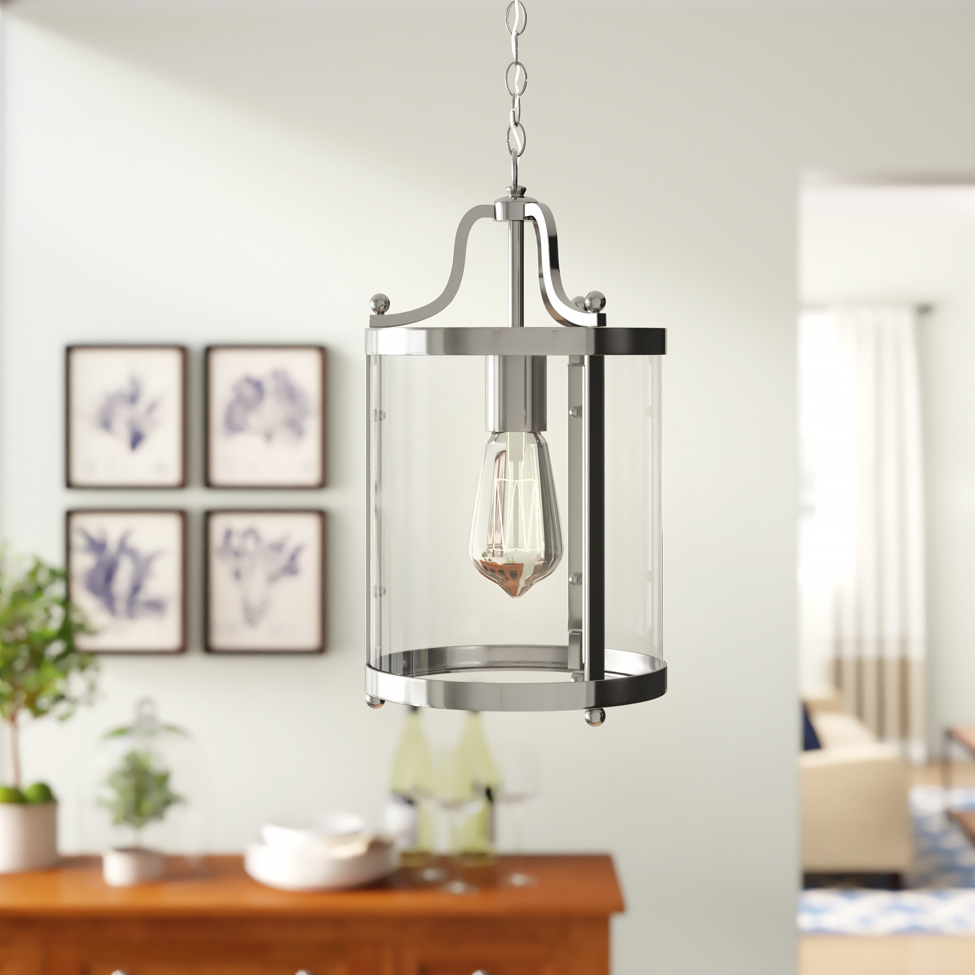 Tessie 3 Light Lantern Cylinder Pendants Pertaining To Popular Tessie 1 Light Lantern Cylinder Pendant (View 3 of 20)
