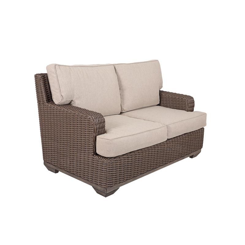 The Brookstone Wicker Loveseat Is Covered In Brown All Throughout Best And Newest Kentwood Resin Wicker Loveseats (View 18 of 20)