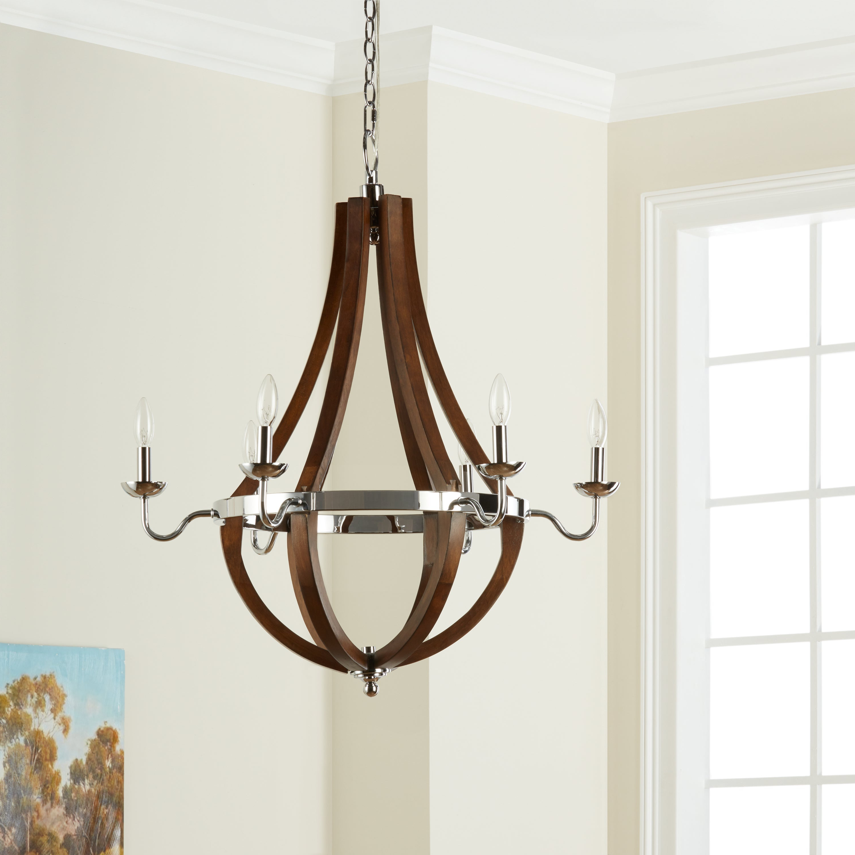 The Gray Barn Vineyard Wood & Chrome 6 Light Chandelier In Most Up To Date Joon 6 Light Globe Chandeliers (View 18 of 20)
