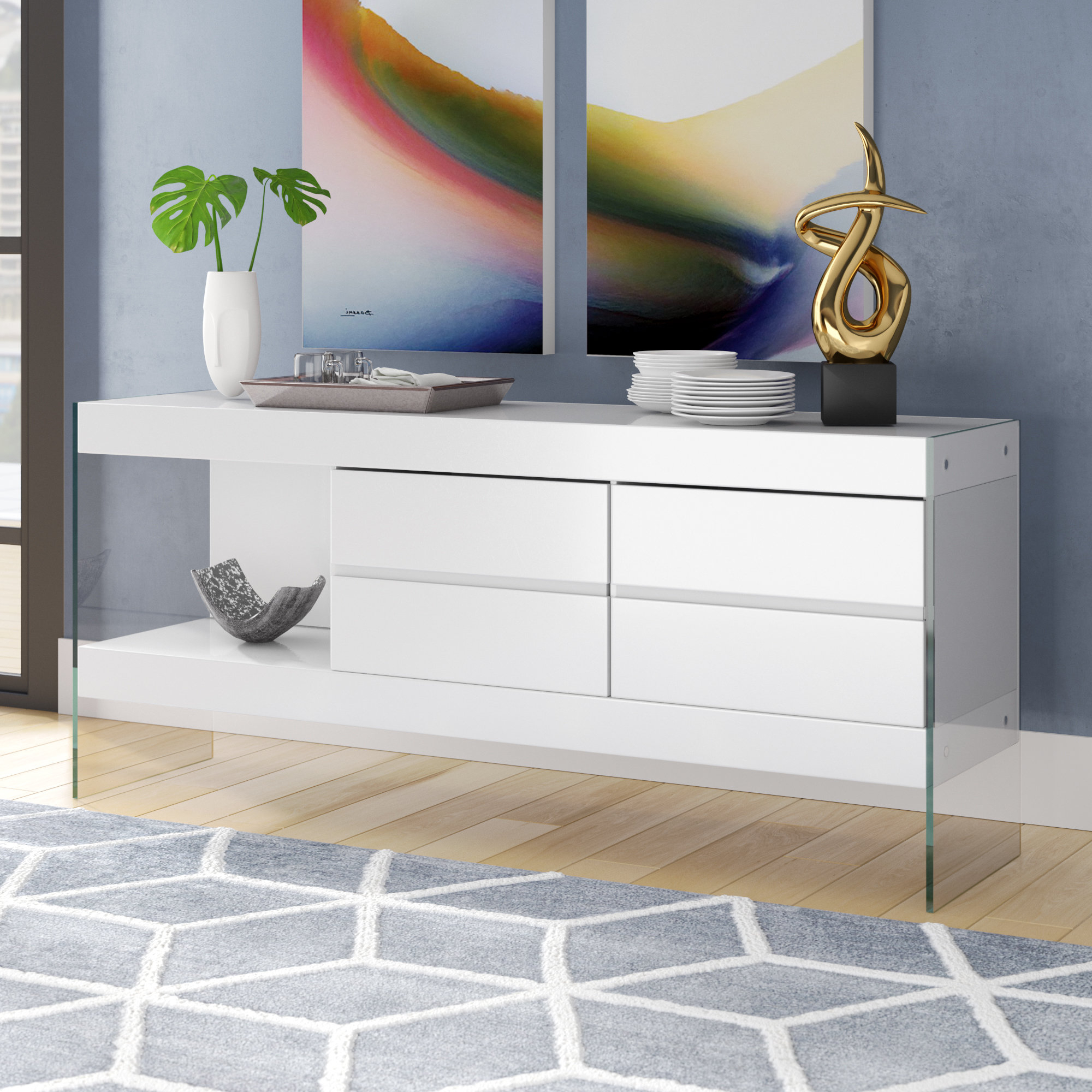 Thite Sideboards Throughout Favorite High Gloss White Sideboard You'll Love In (View 17 of 20)
