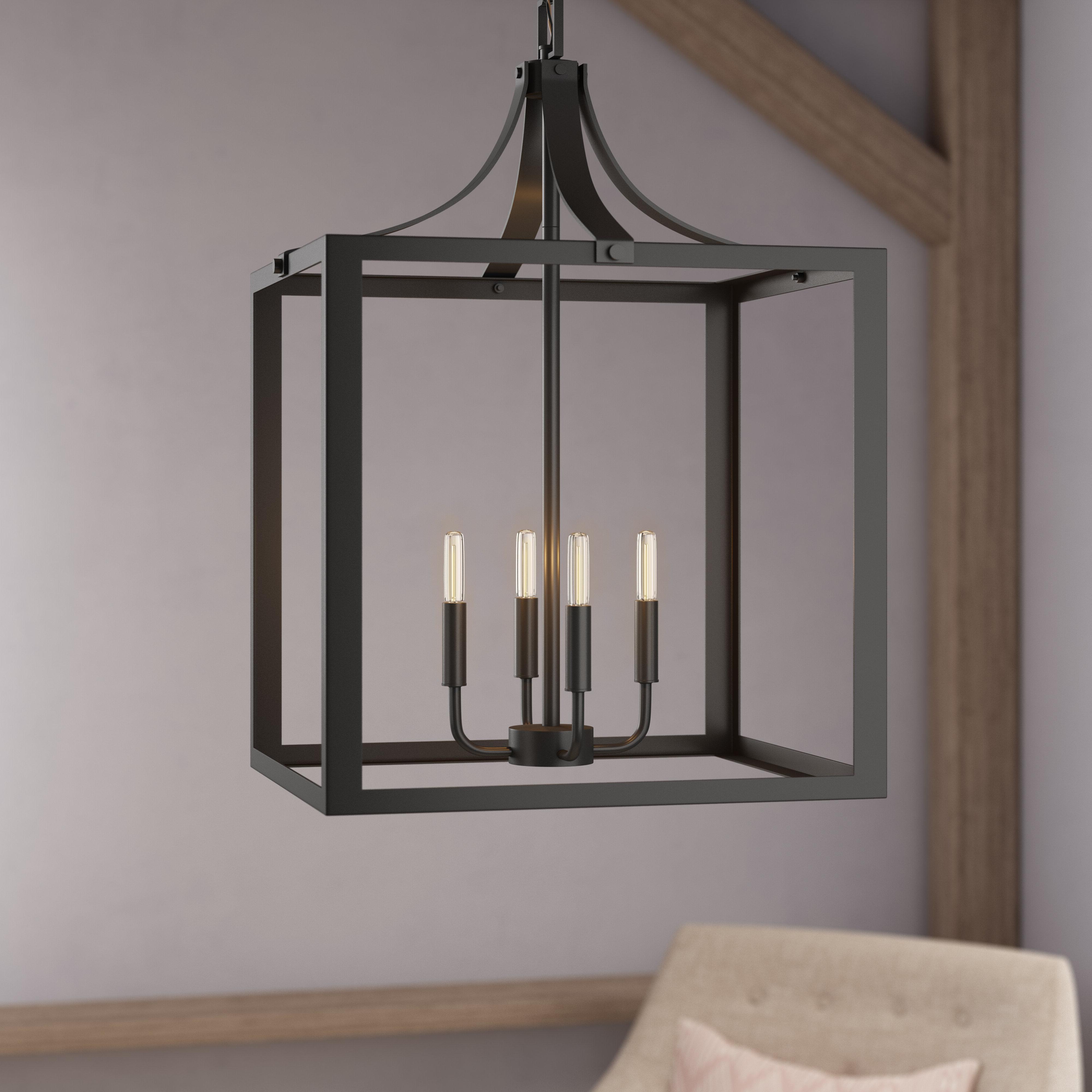 Thorne 4 Light Lantern Rectangle Pendants Intended For Current Sherri Ann 4 Light Lantern Square / Rectangle Pendant (View 8 of 20)