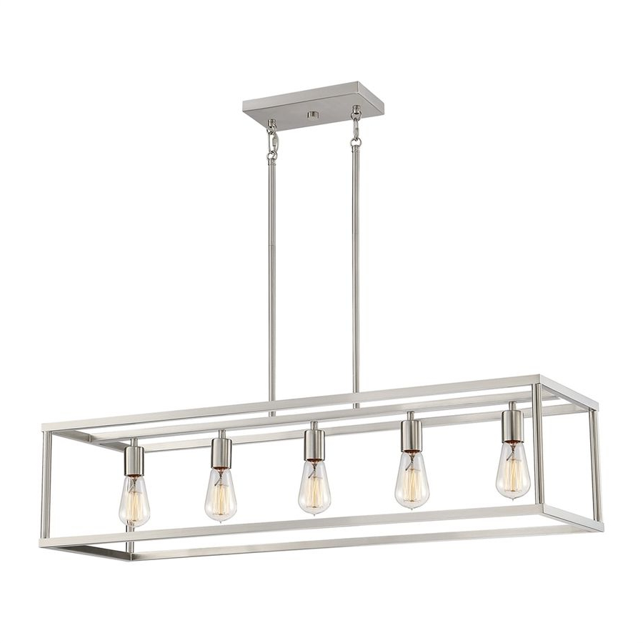 Thorne 5 Light Kitchen Island Pendants With Regard To Preferred Quoizel New Harbor 38 In W 5 Light Brushed Nickel Kitchen (View 7 of 20)