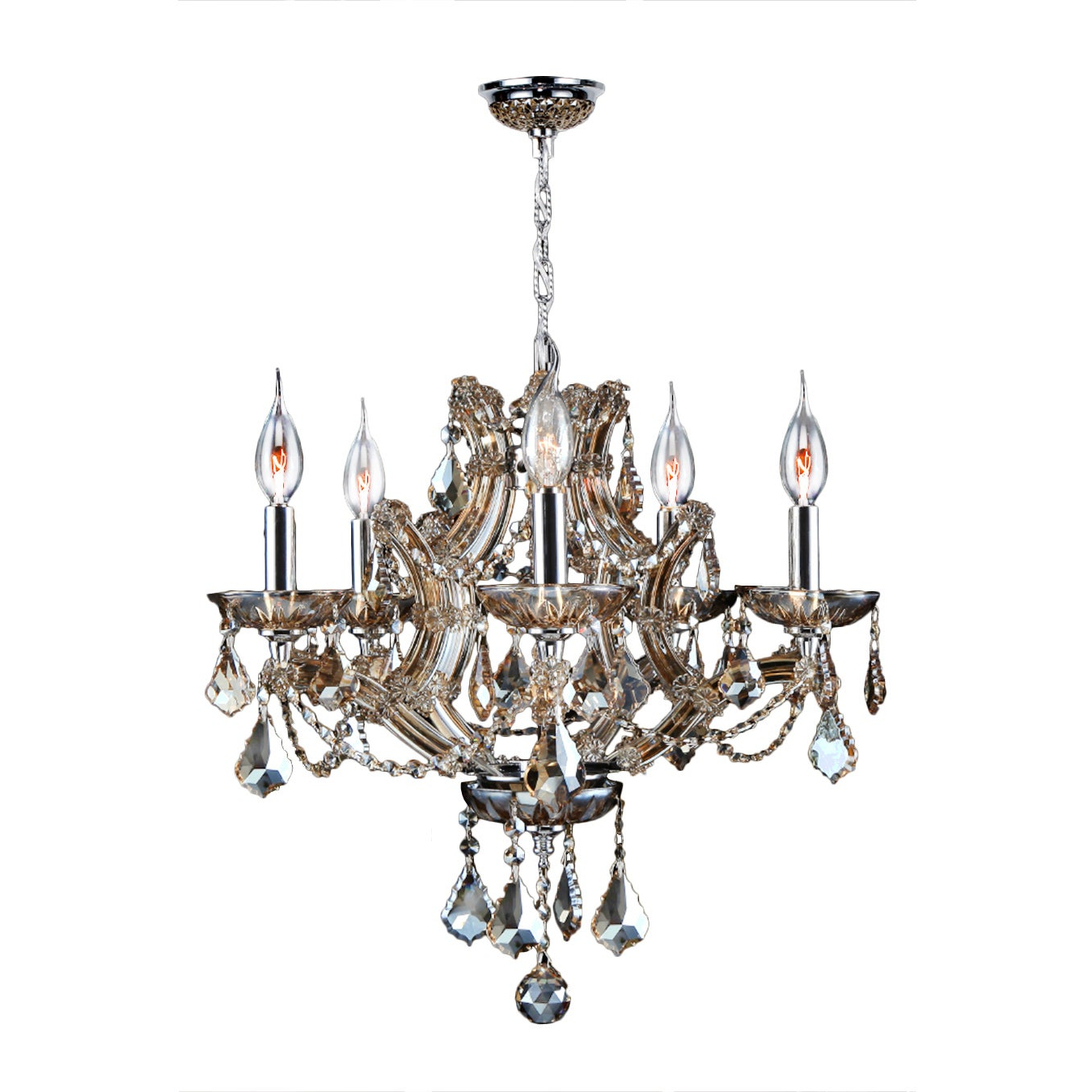 Thresa 5 Light Shaded Chandeliers Pertaining To Most Recently Released Maria Theresa 5 Light Golden Teak Crystal Glam Chandelier Medium 19 In. W X  18 In (View 13 of 20)