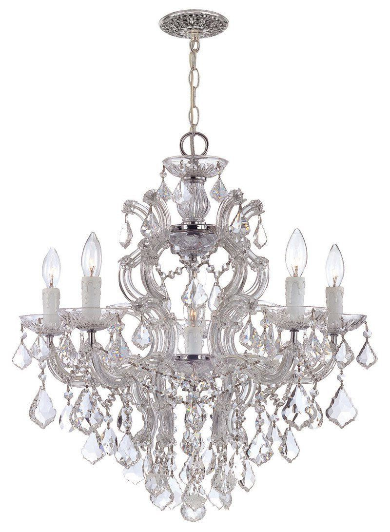 Thresa 5 Light Shaded Chandeliers Pertaining To Well Known Crystorama Maria Theresa Chandelier Draped In Clear Hand Cut (View 15 of 20)