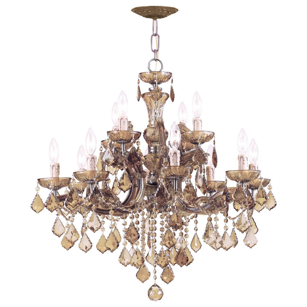 Thresa 5 Light Shaded Chandeliers Regarding Fashionable Crystorama Maria Theresa Collection 12 Light Antique Brass Chandelier (View 15 of 20)