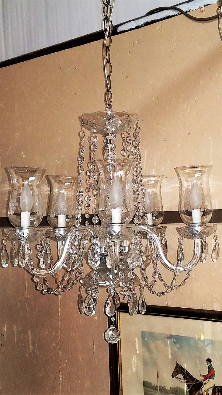 Thresa 5 Light Shaded Chandeliers Throughout Favorite Etched Hurricane Shade Crystal 5 Arm Chandelier – Rockwell (View 16 of 20)