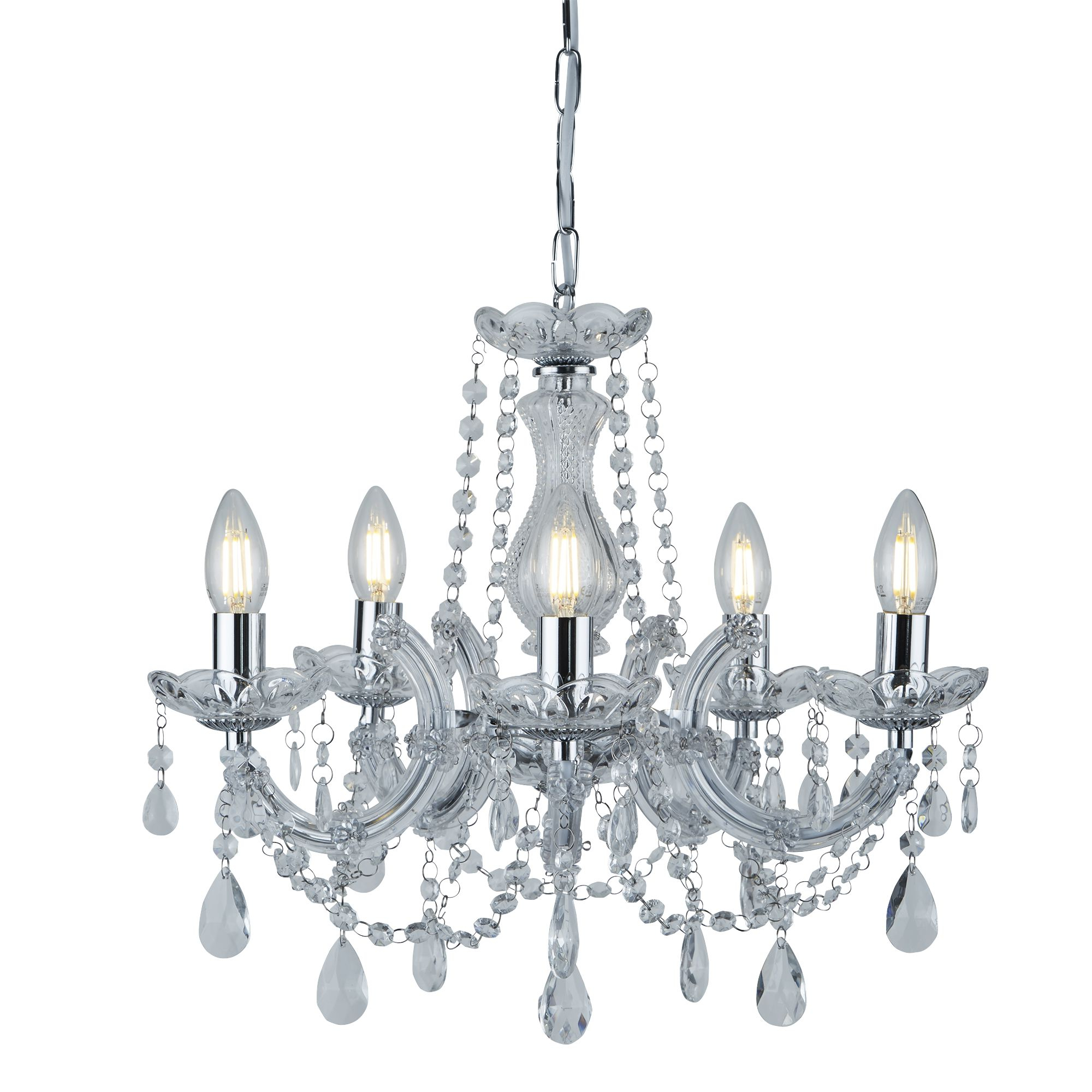 Thresa 5 Light Shaded Chandeliers With Favorite Marie Therese Chrome 5 Light Chandelier With Crystal Drops (View 12 of 20)