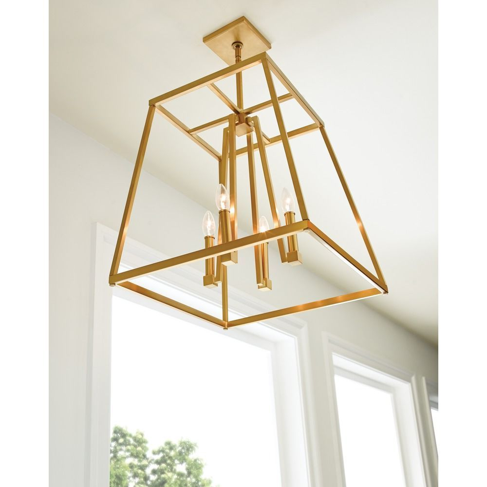 Tiana 4 Light Geometric Chandeliers In Most Up To Date Feiss Lighting Conant Gilded Satin Brass Pendant Light (View 12 of 20)