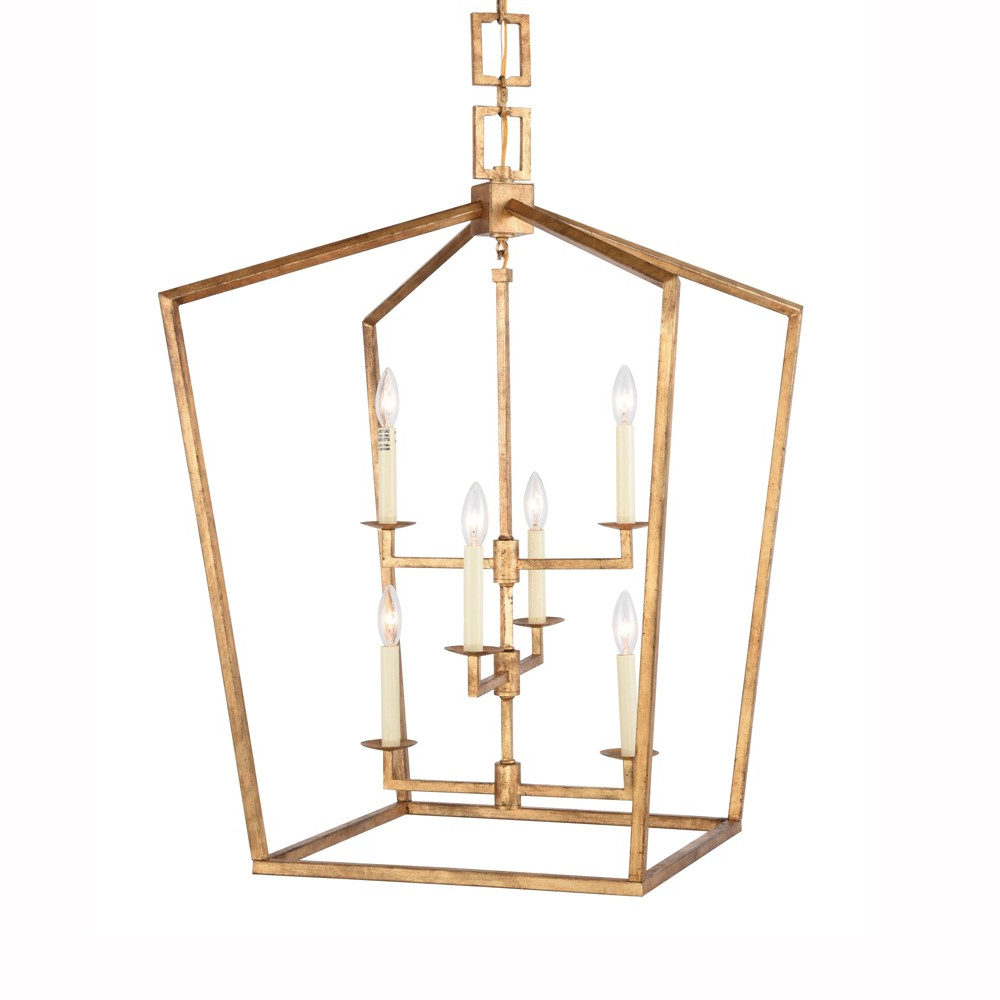 """Tiana 4 Light Geometric Chandeliers Throughout Famous Elegant Lighting 1512D24 Denmark 6 Light 24"""" Wide Cage Style (View 14 of 20)"""