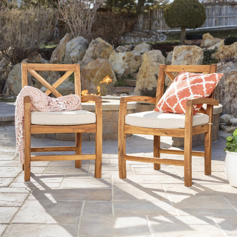 Tim X Back Acacia Patio Chairs With Cushions Regarding Most Recently Released Tim X Back Patio Loveseats With Cushions (View 11 of 20)