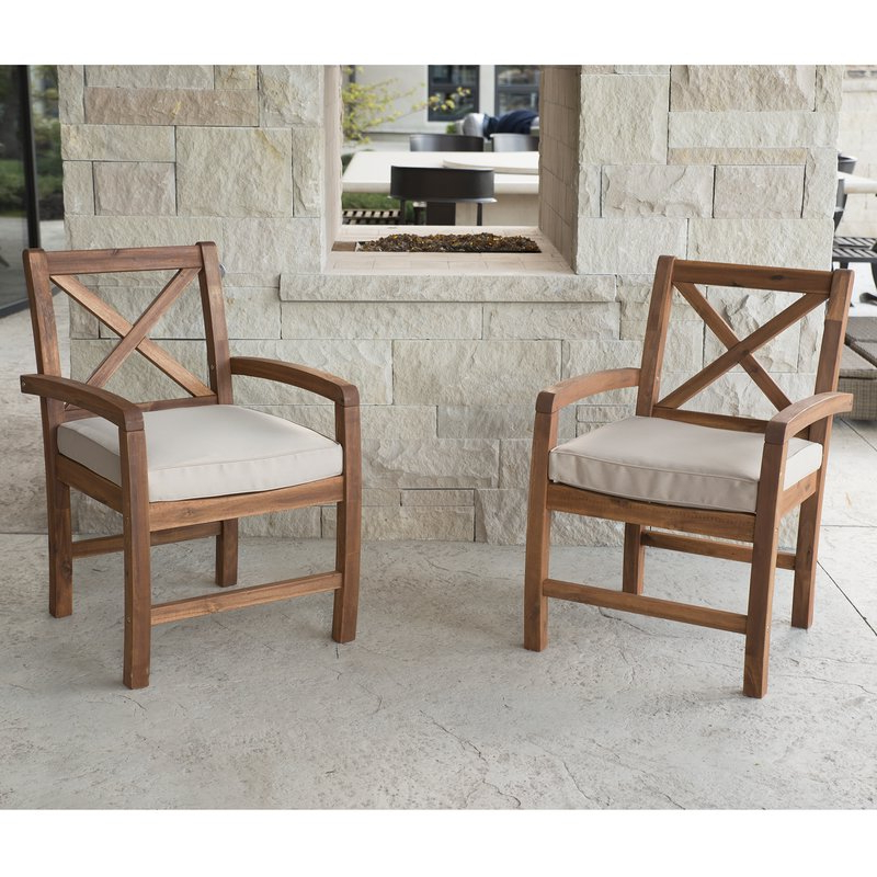 Tim X Back Acacia Patio Chairs With Cushions With Regard To Latest Tim X Back Patio Loveseats With Cushions (View 20 of 20)