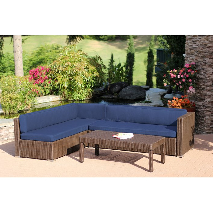 Totnes 3 Piece Sectional Set With Cushions In Latest Larsen Patio Sectionals With Cushions (View 15 of 20)