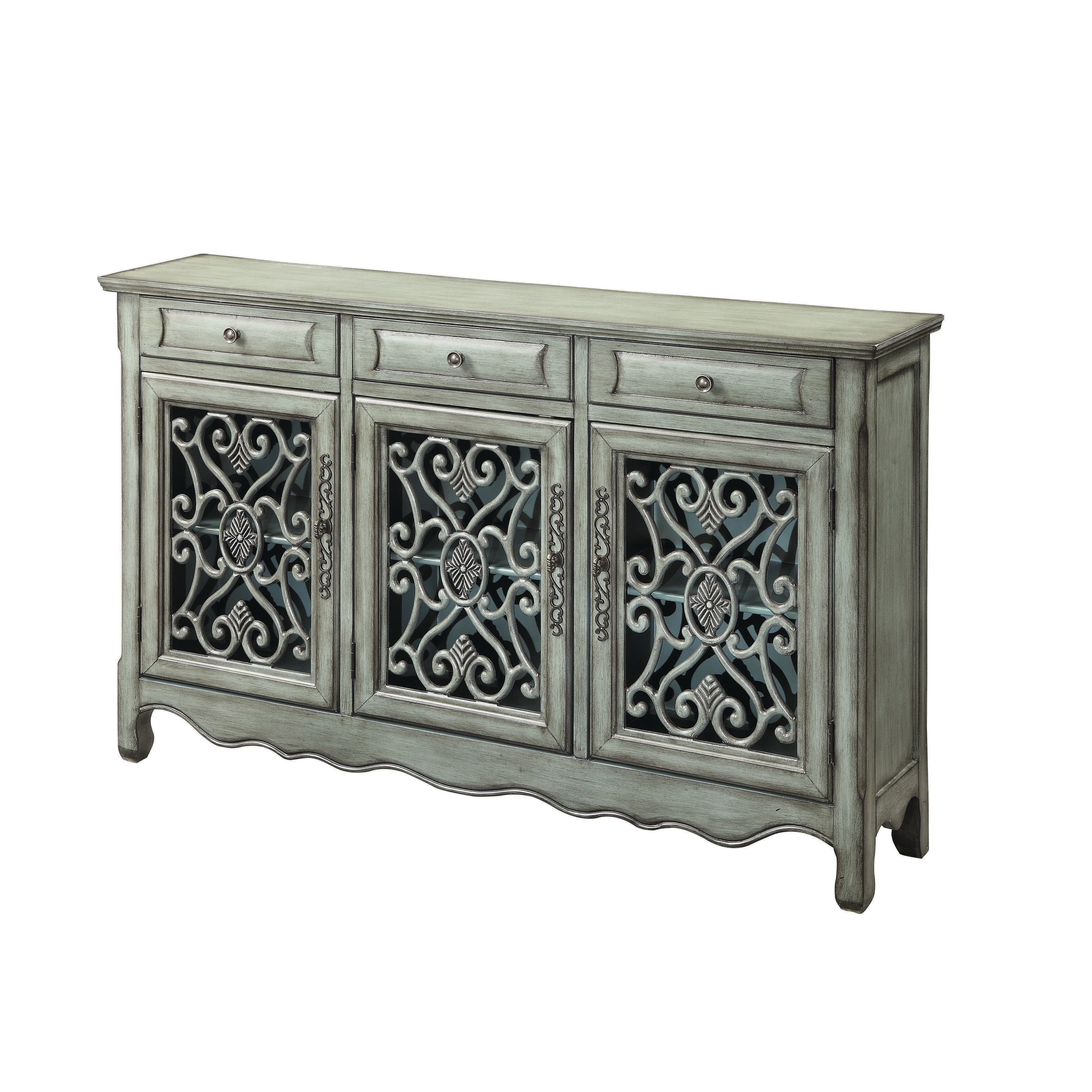 Traditional Antique Green 3 Door Cabinet, Clear, Coaster In With Favorite Shoreland Sideboards (View 19 of 20)