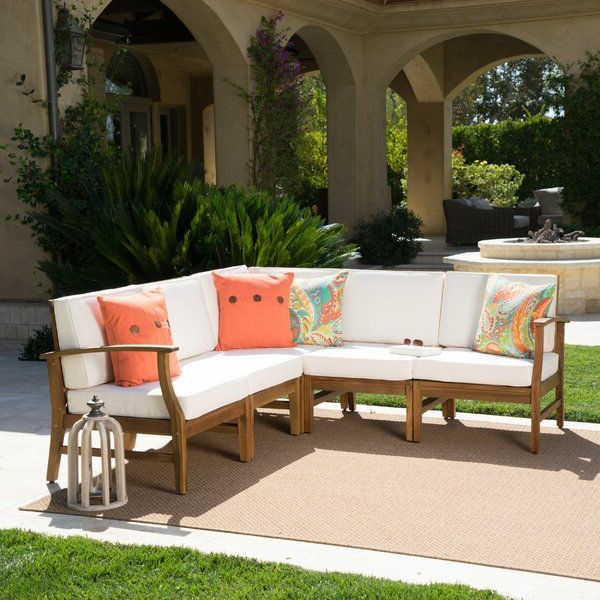 Trendy Antonia Teak Patio Sectional With Cushions (View 5 of 20)