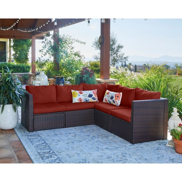 Trendy Antonia Teak Patio Sectionals With Cushions Intended For Shop Havenside Home Stillwater Indoor/outdoor Brown Resin (View 17 of 20)