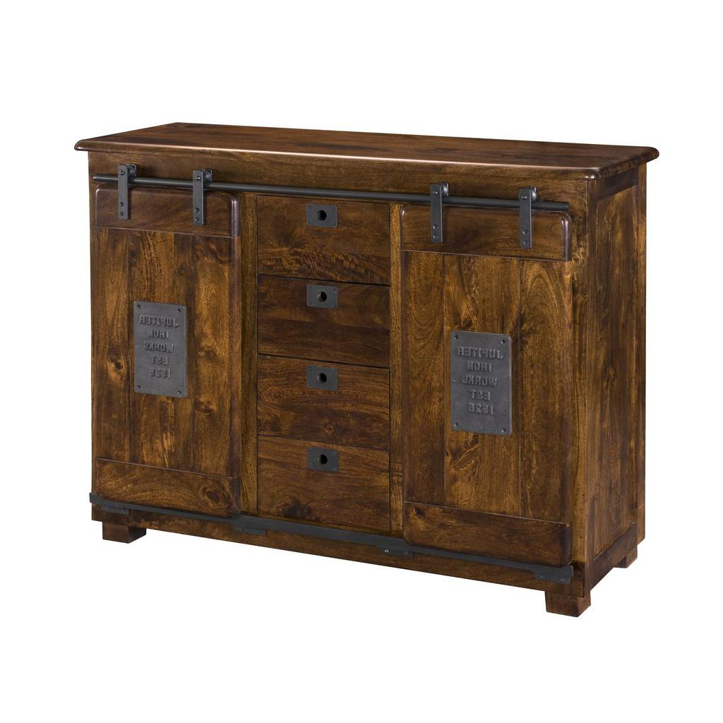 Trendy Armelle Sideboards Throughout Ironworks Warm Brown Two Door Four Drawer Sideboard (View 20 of 20)