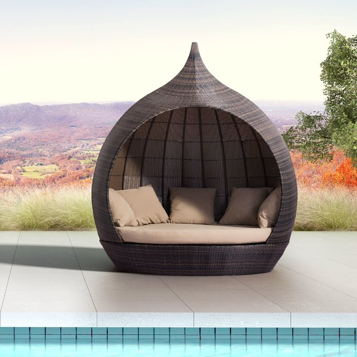 Trendy Behling Canopy Patio Daybeds With Cushions Within Hatley Patio Daybed With Cushions (View 16 of 20)