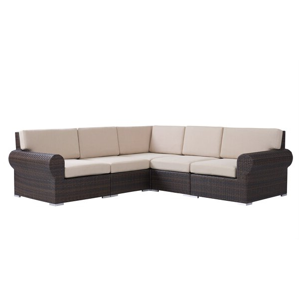 Trendy Brookhaven Patio Sectional With Cushions Inside Jamarion 4 Piece Sectionals With Sunbrella Cushions (View 18 of 20)