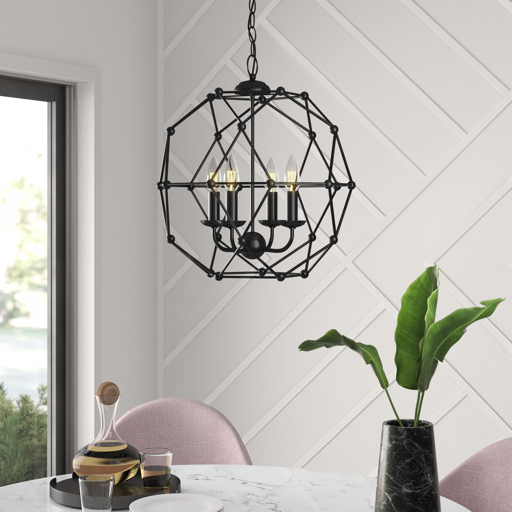Featured Photo of Cavanagh 4 Light Geometric Chandeliers