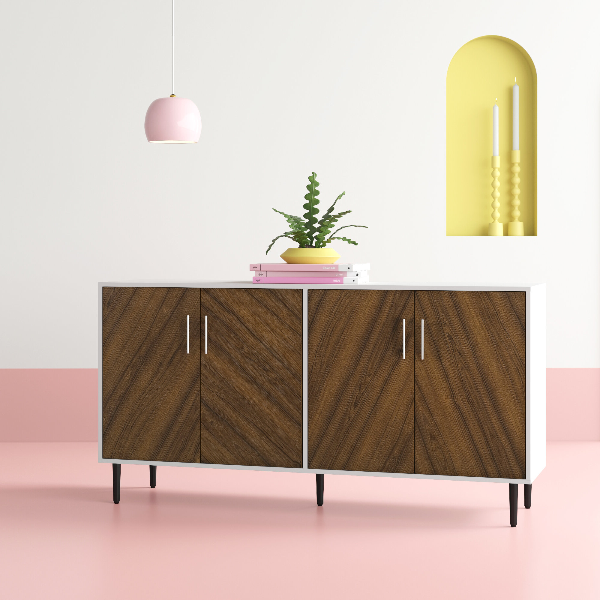 Trendy Dovray Sideboards With Keiko Modern Bookmatch Sideboard (View 16 of 20)