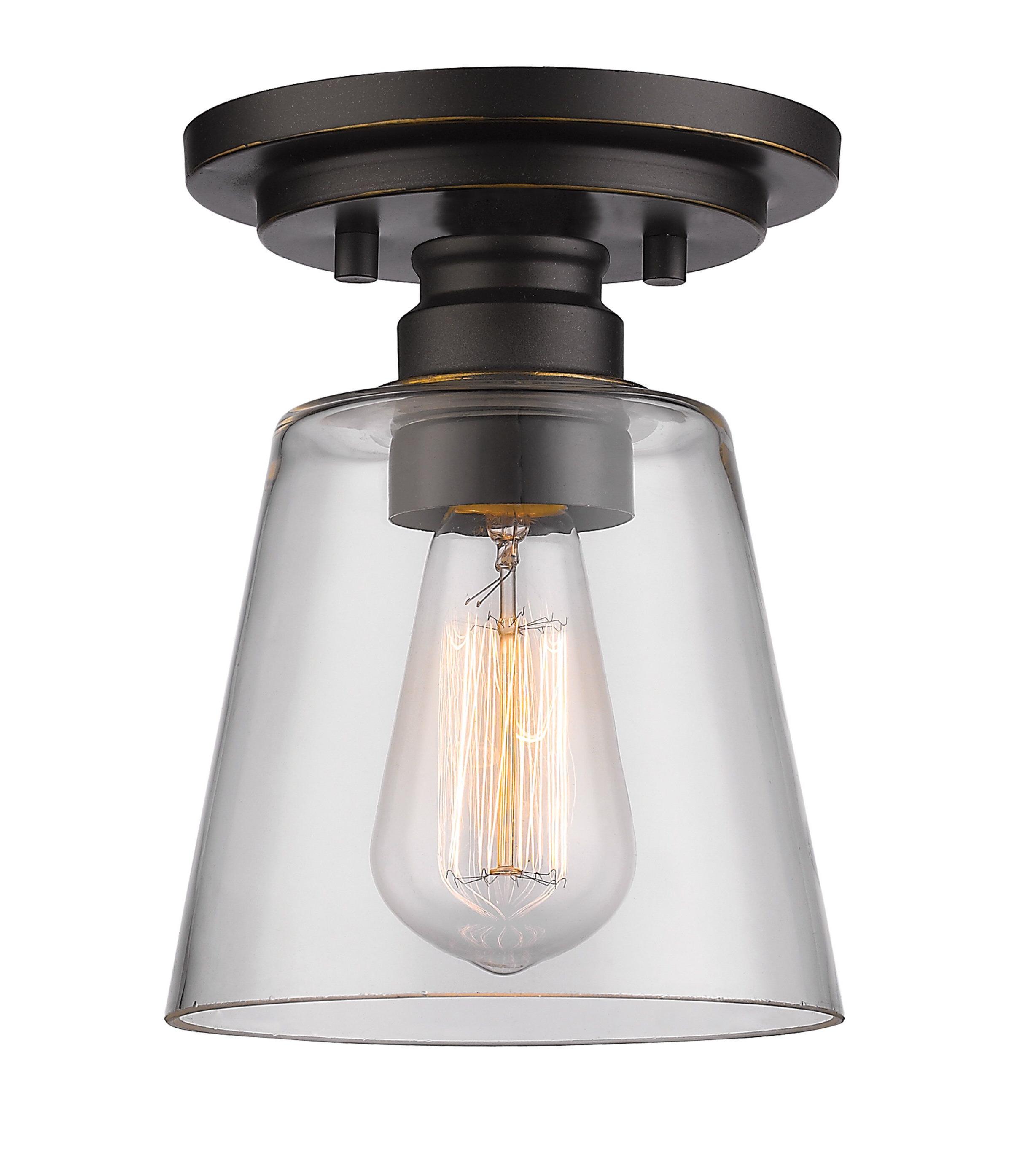 Trendy Erico 1 Light Single Bell Pendants Regarding Clayton 1 Light Semi Flush Mount (View 19 of 20)