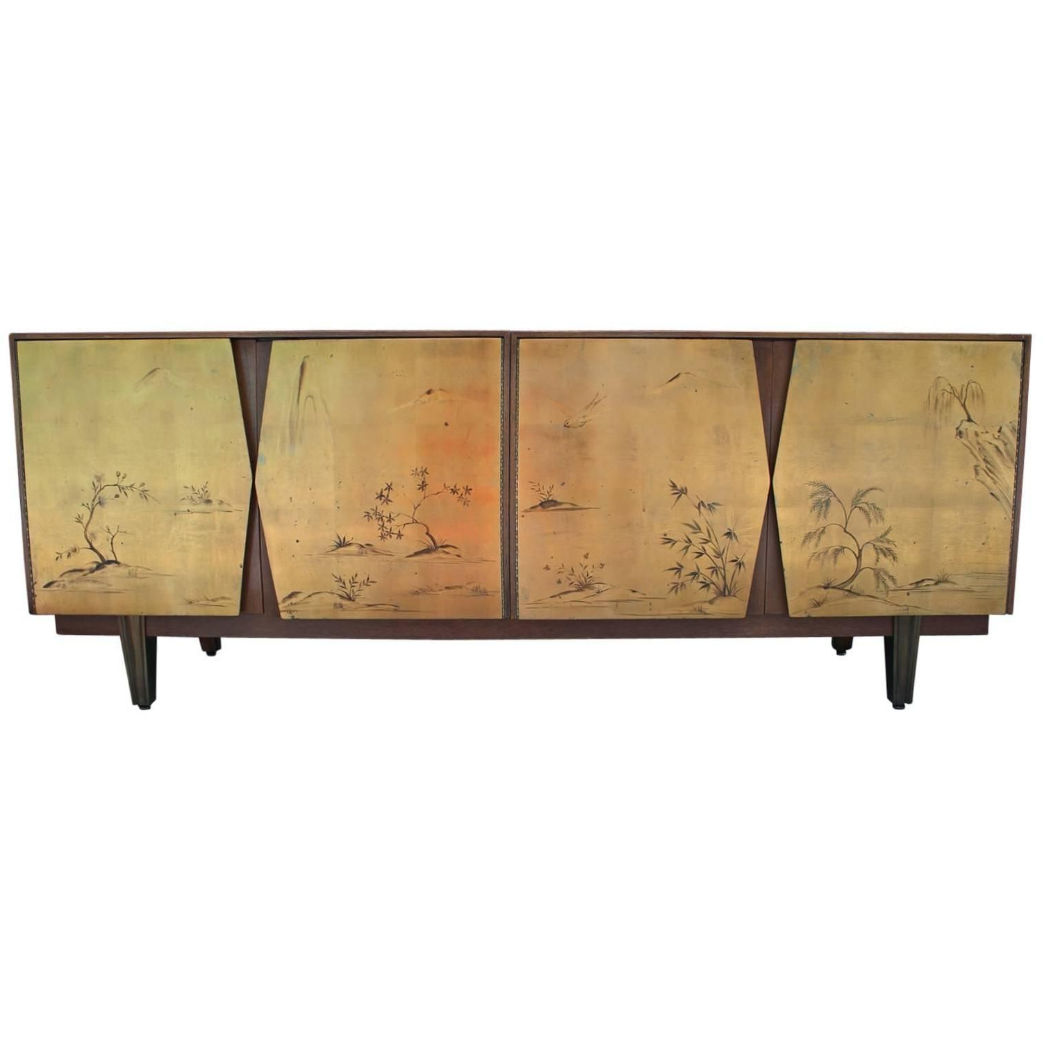 Trendy Fabulous Two Tone Gold Leaf Sideboard With Asian Motifs Inside Stephen Credenzas (View 14 of 20)