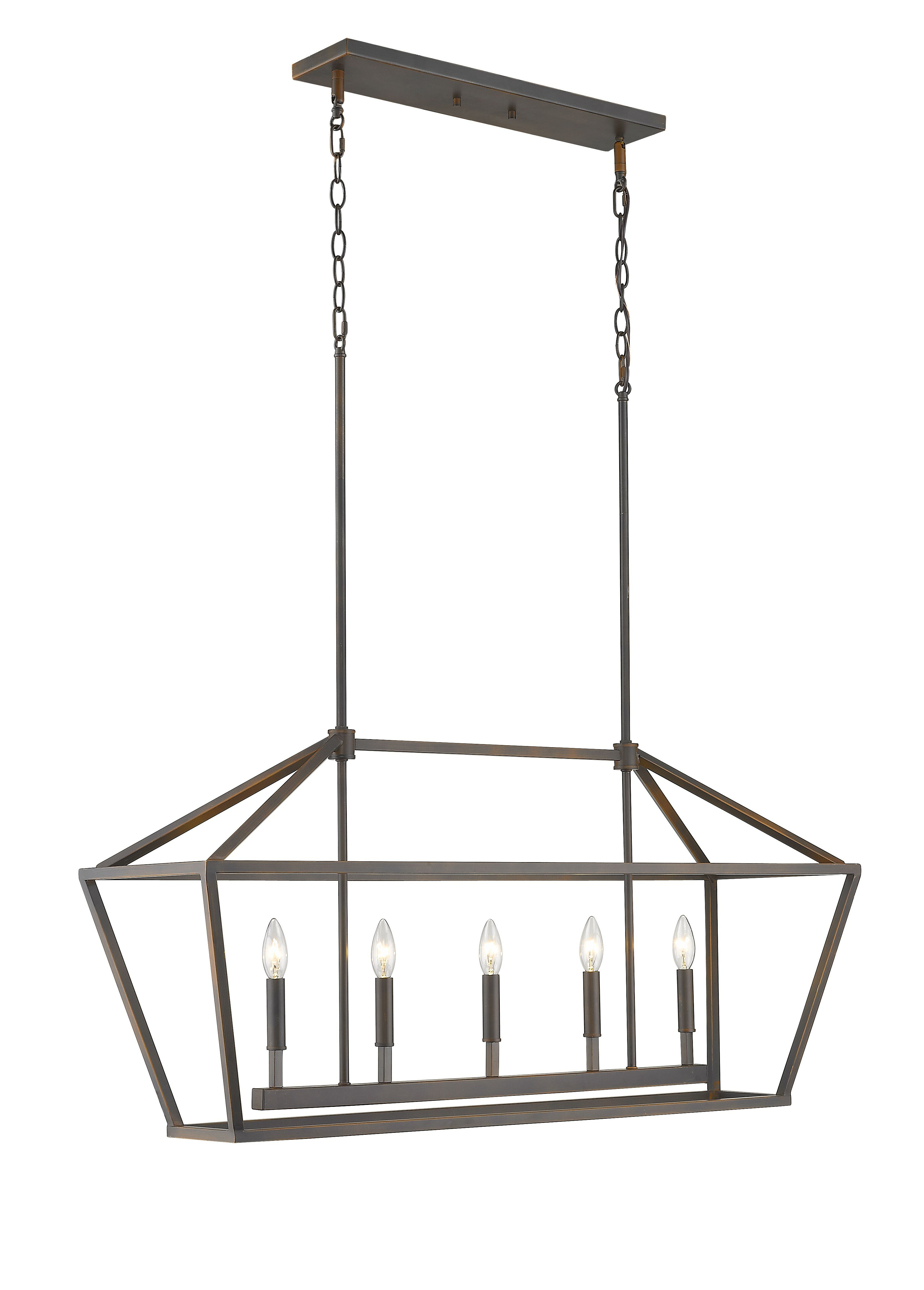 Trendy Freemont 5 Light Kitchen Island Linear Chandelier Pertaining To Odie 8 Light Kitchen Island Square / Rectangle Pendants (View 8 of 20)