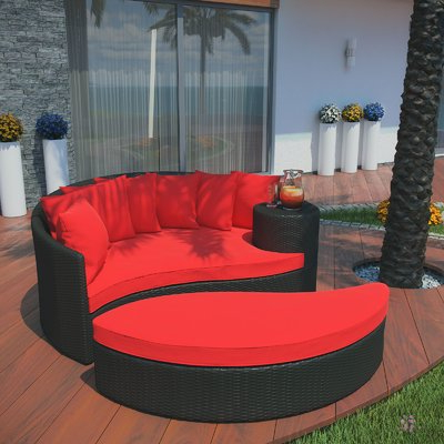 Trendy Greening Outdoor Daybed With Ottoman & Cushions In Greening Outdoor Daybeds With Ottoman & Cushions (View 5 of 20)