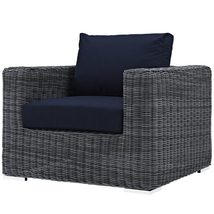 Trendy Keiran Patio Sofas With Cushions Intended For Keiran Outdoor Patio Arm Chair With Cushions (View 19 of 20)