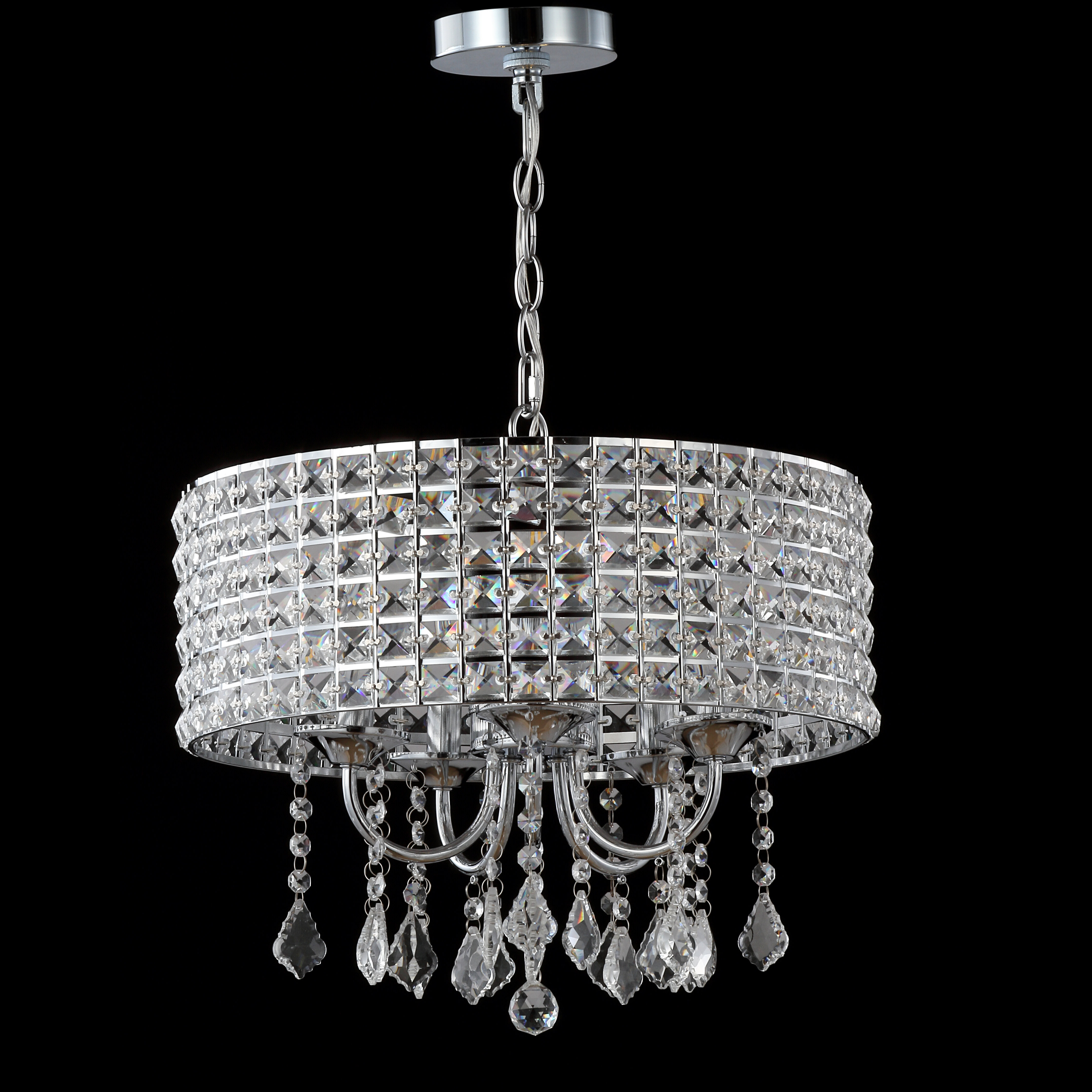 Trendy Mckamey 4 Light Crystal Chandeliers Within Mae 5 Light Drum Chandelier (View 18 of 20)