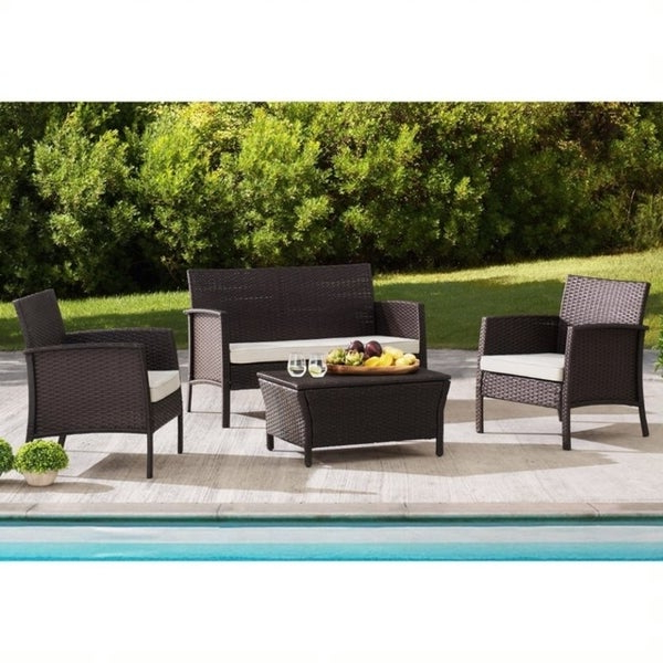 Trendy Mosca Patio Loveseats With Cushions With Regard To Shop Sunjoy Mosca 4 Piece Wicker Seating Set – Free Shipping (View 19 of 20)