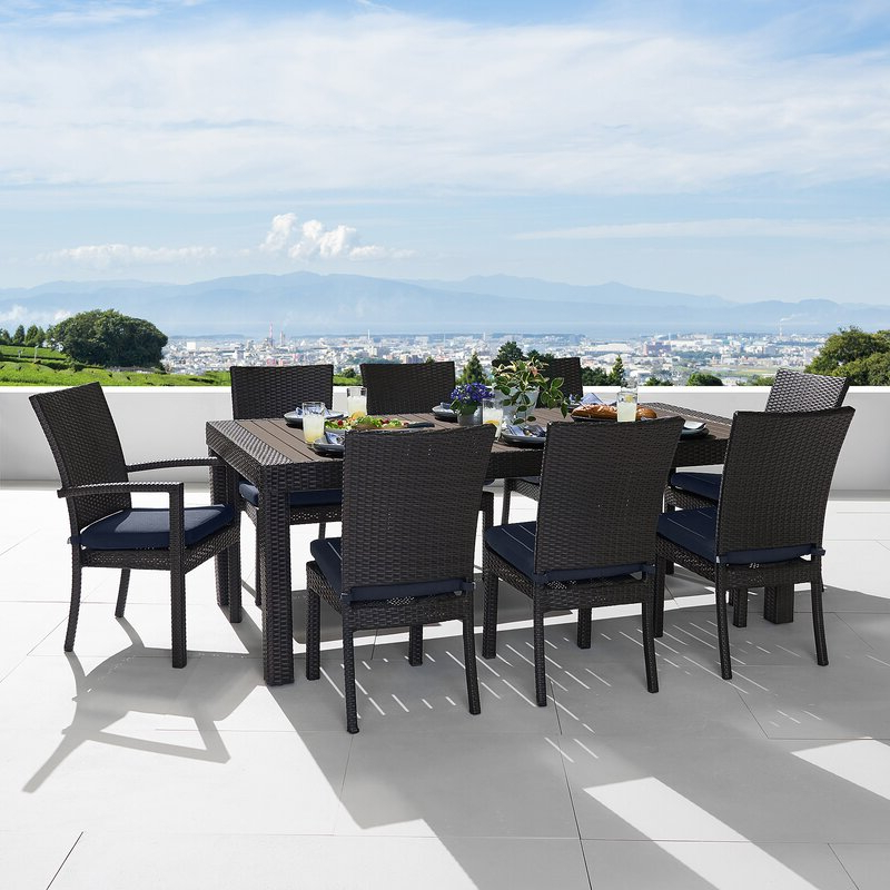 Trendy Northridge Patio Sofas With Sunbrella Cushions With Regard To Northridge 9 Piece Sunbrella Dining Set With Cushions (View 19 of 20)