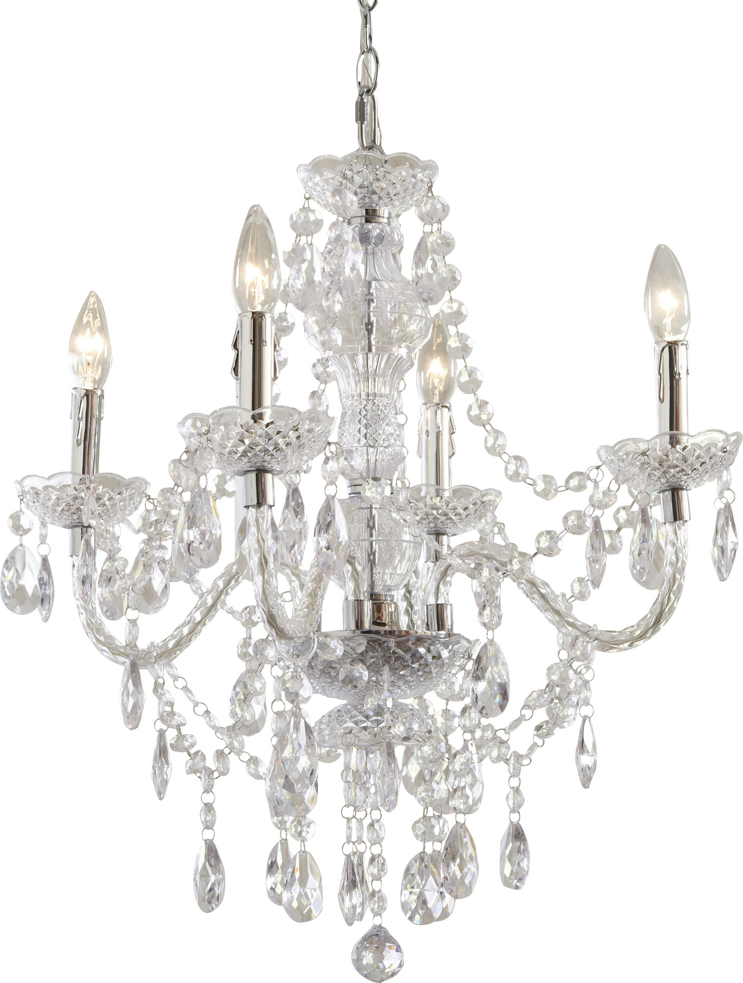 Trendy Oriana 4 Light Single Geometric Chandeliers Pertaining To Ice Palace 4 Light Crystal Chandelier (View 19 of 20)
