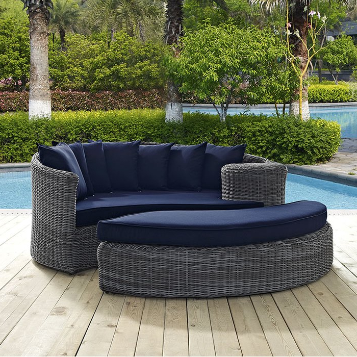 Trendy Patio Daybeds With Cushions Throughout Keiran Patio Daybed With Cushions (View 18 of 20)
