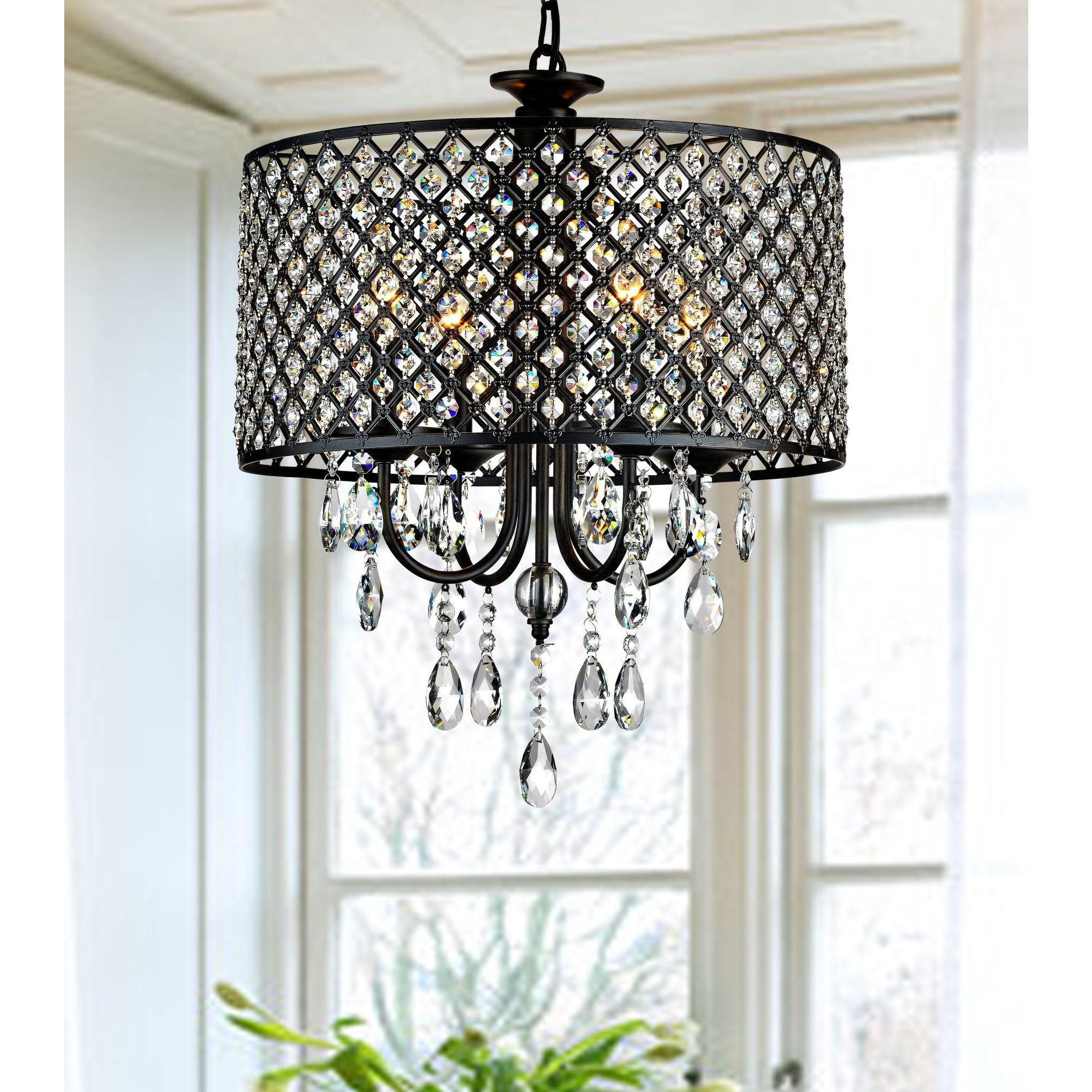 Trendy Porch & Den Cherrywood Merrie Lynn Antique Black 4 Light Pertaining To Aurore 4 Light Crystal Chandeliers (View 18 of 20)