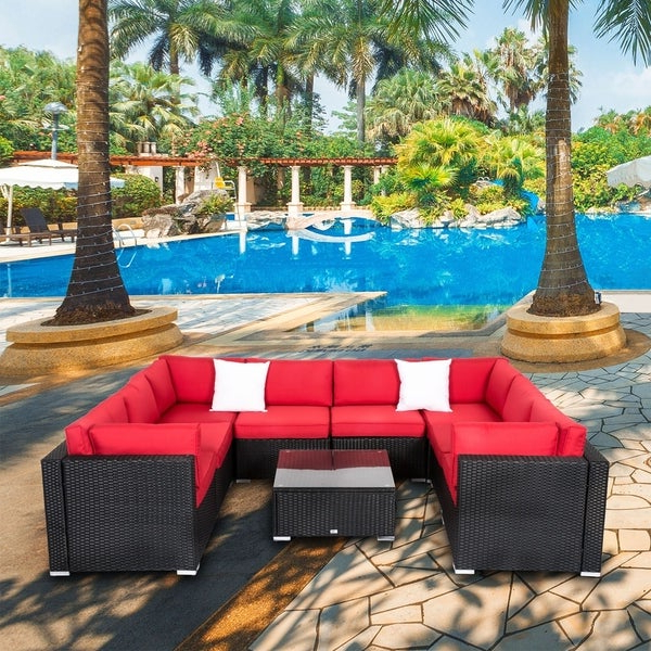 Trendy Shop Kinbor 9 Piece Outdoor Furniture Patio Sectional Sofa In Tess Corner Living Patio Sectionals With Cushions (View 7 of 20)