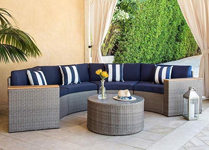 Trendy Solaura Outdoor 5 Piece Sectional Furniture Patio Half Moon Inside Larsen Patio Sectionals With Cushions (View 16 of 20)