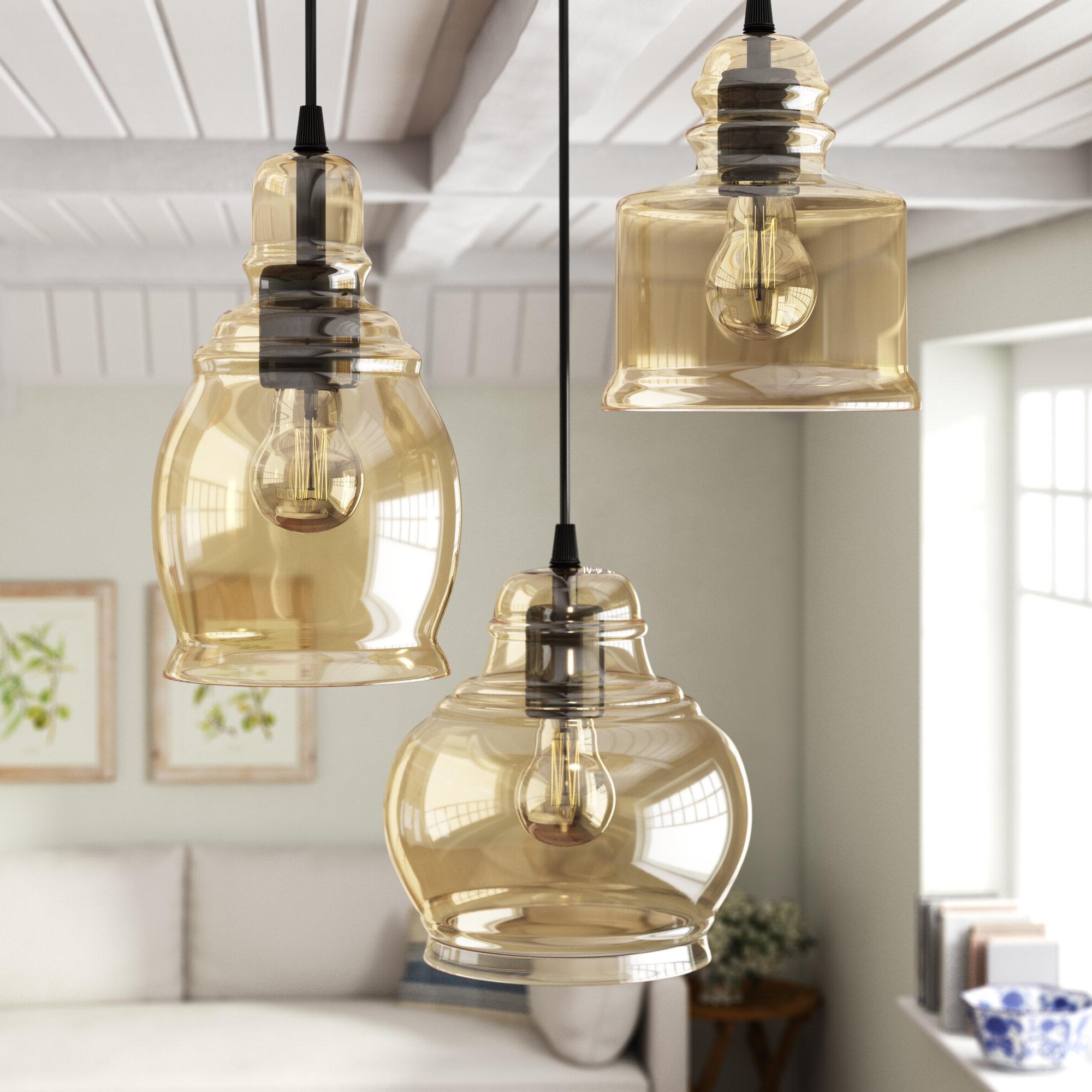 Featured Photo of Pruett Cognac 3 Light Cluster Bell Pendants